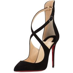 Christian Louboutin Marlenarock Crisscross Suede Red Sole Pump (€845) ❤ liked on Polyvore featuring shoes, pumps, black, shoes pumps, pointed toe shoes, black pointy-toe pumps, black pumps, suede pointy toe pumps and pointy-toe pumps