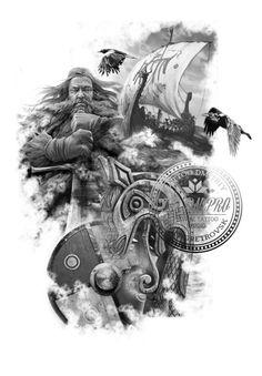 """Vikings (I'd make the sword more """"Viking"""") Norse Mythology Tattoo, Norse Tattoo, Celtic Tattoos, Viking Tattoos, 4 Tattoo, Body Art Tattoos, Tatoos, Norse Pagan, Viking Culture"""