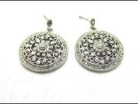 18k Gold Filled, Silver Tone, Filigree Style Dangle Earrings With Cubic Zirconia / SKU 1179
