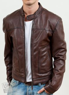 Men's Leather Biker Jacket - Zenith - Brown, Black -