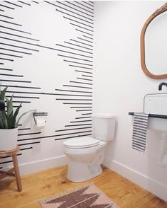 In love with this bathroom design! That washi tape wall looks like one of my favorite rug patterns! Inspiration Wall, Bathroom Inspiration, Tape Wall Art, Masking Tape Wall, Accent Wall Bedroom, Accent Wall In Bathroom, Bathroom Stencil, Painting Bathroom Tiles, Accent Wall Decor