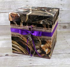 Country elegant camo wedding card box, featuring a large diagonal slot to accommodate all card sizes -CUSTOMIZABLE- by TheMomentWeddingBoutique