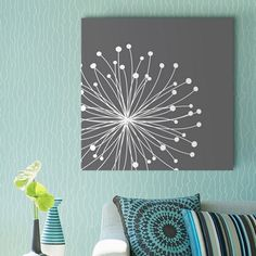 """Make your colorful space feel more pulled together with neutral, minimalist art like Tamara Robinson's """"Dandelion. Feature Wall Living Room, Living Room Art, Framed Prints, Canvas Prints, Big Canvas, Big Wall Art, Photo To Art, Colourful Living Room, Minimalist Art"""