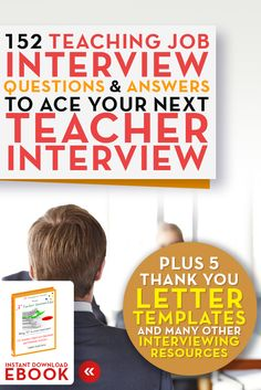 Teachers Job Search eBooks on interviewing resume writing and more Teaching Job Interview Questions and Answers eBook 152 teacher interview questions and answers A+ Resumes for Teachers Click… Teacher Interview Questions, Teaching Interview, Teacher Interviews, Teaching Resume, Interview Questions And Answers, Teaching Jobs, Student Teaching, Teaching Writing, Teaching Ideas