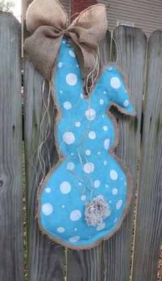 Easter Bunny Burlap Door Hanger by BurlapandLovely on Etsy, $29.00