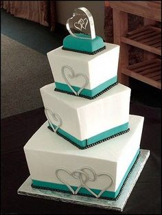 3-tier teal and black square wedding cake #cakes #weddingcakes #weddings #weddingideas