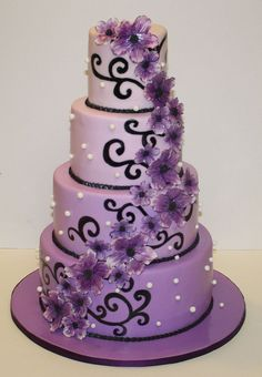 Purpel and Black Wedding Cake