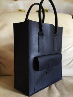 Large leather tote bag - matt black calf leather - Hand Stitched. $295.00, via Etsy.