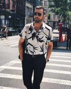 Short sleeve floral shirt + black pants