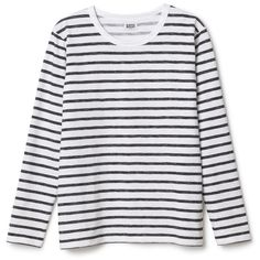 Bridge ls tee ❤ liked on Polyvore featuring tops, t-shirts, sweaters, shirts, long sleeves, long sleeve tee, striped t shirt, long sleeve shirts, t shirts and striped long sleeve shirt