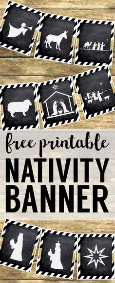 Print this silhouette banner for some easy and cute Christmas decor. These chalkboard nativity signs with gold embellishment are easy Christmas decorations. ministry School Ideas Ideas for Kids 3d Christmas, Christmas Banners, Christmas Nativity, Christmas Projects, Christmas Ideas, Christmas Design, Christian Christmas Crafts, Christmas Silhouettes, Chicago Christmas