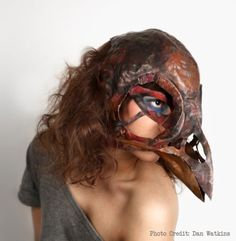 """""""Modeled off the skull of a swamp sparrow, this mask was made as part of a  challenge by a few smiths on the internet to create a bird skull in  metal. The moment the idea was presented, I knew I wanted to make this  mask, but had to wait till after the holidays to start. And, well, it  took nine months, but the critter's done, now. She's participated in  photo shoots, fashion shows, and art exhibits, but she would rather live  with you.""""  By Kest Schwartzman"""