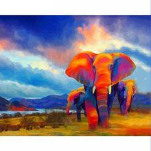 CHENISTORY DZ1529 Peinture Par Numéros Image Colorée Éléphant Animaux No Frame Pour Kits