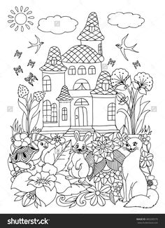 Vector Illustration Zentangl Cat Hare And The Turtle Near House In Flowers Coloring Book Anti Stress For Adults Black White
