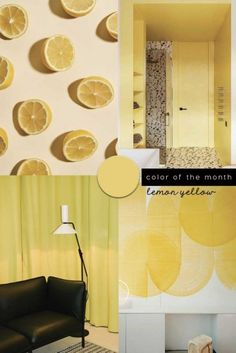 Interior Color Trends 2020 Lemon Yellow In Interiors and Scheme Color, Office Color Schemes, Home Office Colors, Living Room Colors, Living Room Decor, Bedroom Decor, Wall Decor, Nursery Decor, Wall Art