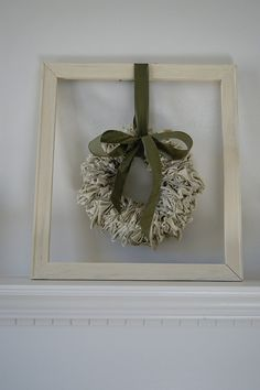 Ragged Wreath Suspended in Rustic Frame