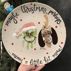 Grinch handprint and Max footprint! Family Crafts, Baby Crafts, Toddler Crafts, Christmas Crafts For Gifts, Kids Christmas, Christmas Decor, Toddler Christmas, Merry Little Christmas, Daycare Crafts