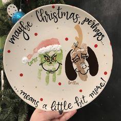 Grinch handprint and Max footprint! K Crafts, Daycare Crafts, Baby Crafts, Toddler Crafts, Christmas Crafts For Gifts, Kids Christmas, Christmas Decor, Toddler Christmas, Merry Little Christmas