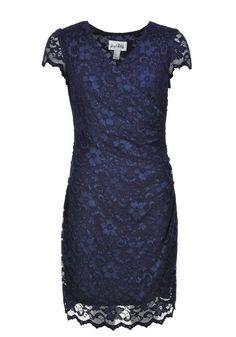 JOSEPH RIBKOFF WRAP OVER LACE DRESS, NAVY - www.mcelhinneys.com Wrap Dress Outfit, Lace Dress, Blue Fashion, New Fashion, Color Shapes, Groom Dress, Dress Collection, Dress Ideas, Fashion Forward