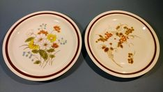 """Items similar to Dinner Plates FOUR SEASONS Collection Stoneware """"Autumn Bouquet & Early Summer"""" Patterns Earth Tone Colors Replacement Dishes on Etsy"""