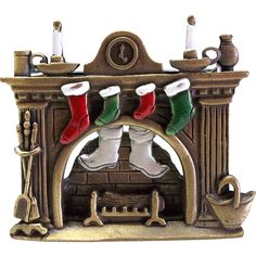 Mantle Fireplace Christmas Stockings JJ pin brooch Articulated