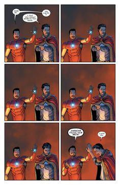 Iron Man #3 interior art - Tony Stark and Doctor Strange by David Marquez *