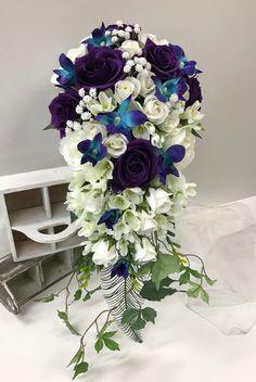 Purple white cascading bouquet Purple Wedding Bouquets, Bridesmaid Bouquet, Bridal Bouquets, Wedding Flowers, Cascade Bouquet, Boutonnieres, Flower Ideas, Special Occasion, Floral Wreath