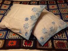 Hand printed pillows.