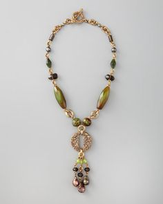 Green Agate Drop Necklace by Stephen Dweck . There's so much charm when someone uses pearls,bronze and agate to create a statement piece of jewelry. A show of fine craftsmanship.