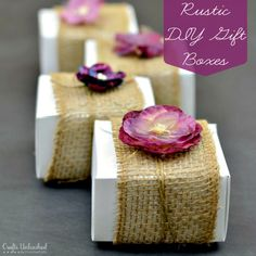 DIY Gift Boxes Embellished With Burlap  Flowers