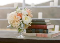 dahlias, garden roses and vintage books Photography by Aaron Delesie Photographer / aarondelesie.com, Floral and Event Design by Kelly Oshiro Design / kellyoshirodesign.com