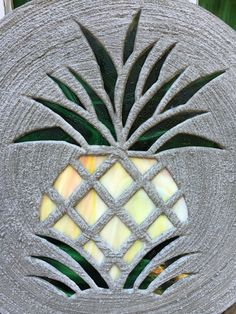 Pineapple Stepping Stone BIG 18 Inch Diameter Concrete and Stained Glass Mosaic Inlay for Yard Art or a Garden Path Ornament or Garden Decor by SteppingStoneYardArt on Etsy