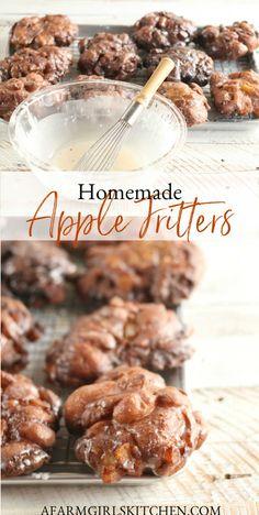Apple Fritter Recipes, Donut Recipes, Apple Recipes, Sweet Recipes, Baking Recipes, Recipe Doughnuts, Apple Fritter Cake, Apple Dessert Recipes, Donut Filling