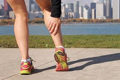 Calf pain is a common complaint among runners. Your calf is actually a group of two muscles located in the back of your lower leg. Straining or tearing the muscles creates discomfort ranging from a mild aching when running to a sharp pain even at rest. Stretch Calf Muscles, Sore Calves, Calf Exercises, Calf Stretches, Stretching, Dance Stretches, Lower Leg Pain, Training, Tabata