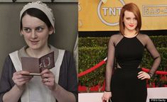 The cast of Downton Abbey in and out of costume. | Sophie McShera as cook's assistant Daisy Robinson Mason.