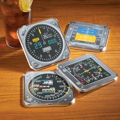Keep Your Favorite Beverages Straight and Level The Modern Instrument Coasters are modeled after flight instruments from many current aircraft. Set of 4 coasters are constructed of high impact styrene; inside diameter measures just under 3 in. Sets stack easily.