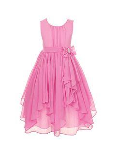 DressForLess Yoryu Chiffon Asymmetric Ruffled Flower Girl Dress , DustyRose, 4, (KK2040DR-4)