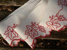 French Hand Embroidered Vintage Shelf Trim  Red by GoshnPoche, $40.00