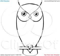 Clipart of a Black and White Perched Owl - Royalty Free Vector Illustration by Prawny Vintage