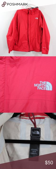 The North Face HyVent DT Hooded Rain Jacket XL Red The North Face HyVent DT Hooded Rain Jacket  Jacket  Comes from a smoke-free household, some wear on the inside near the hood  The size is XL and the measurements are 24.5 inches pit to pit and 30 inches top to base. Shoulder seam to cuff is 26.5 inches and Neck seam to cuff is 32.5 inches  Red  Nylon  Check out my other items in my store!  H63 The North Face Jackets & Coats Raincoats