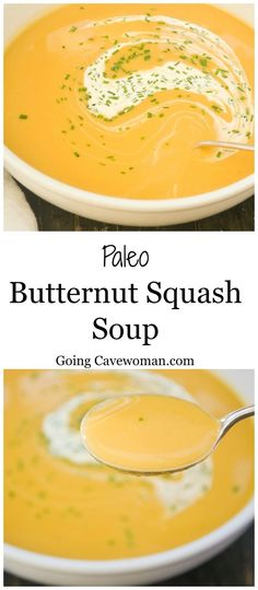 Paleo Butternut Squash Soup - A deliciously creamy, dairy free, filling soup. Follow The cavewoman for more tasty recipes. #Soup #ButternutSquash www.goingcavewoma...