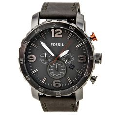 Fossil JR1419 Mens Nate Grey Dial Grey Leather Strap Chronograph Watch