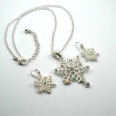 Snowflake Necklace Snowflake Jewelry Set by TiffanyJDesign on Etsy, $13.50