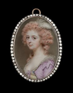 John Smart diamond encrusted miniature depicting a lady wearing a dress with a jewelled pearl and sapphire clasp. Image by: Philip Mould & Company. Mauve Dress, Georgian Era, Watercolor Portraits, Lace Collar, Paint Brushes, Art Sketches, Art Forms, Miniature Paintings, White Feathers