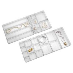 InterDesign Linus Fashion Jewelry Vanity and Drawer Organizer Tray for Rings, Earrings, Bracelets, Necklaces, Clear