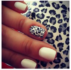 White short nails with accent leopard nail#mani #nails #manicure #Essie #OPI #ChinaGlaze -short nails -real nails - nail polish - sexy nails - pretty nails - painted nails - nail ideas - mani pedi - French manicure - sparkle nails -diy nails