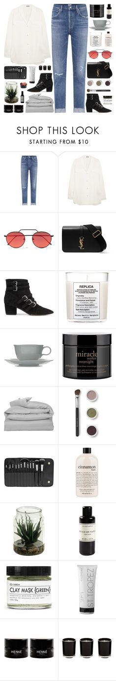 """""""Meet me here beneath the burning skies"""" by pure-and-valuable ❤ liked on Polyvore featuring Citizens of Humanity, Bottega Veneta, Illesteva, Yves Saint Laurent, Tabitha Simmons, Maison Margiela, Bluebellgray, philosophy, GANT and Bare Escentuals"""