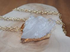 Raw Crystal Quartz Necklace Large Quartz Crystal by MalieCreations