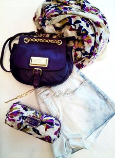 Marc by Marc Jacobs Chain Reaction Robin Handbag, Pretty Nylon Sherwood Cosmetic Bag, & Sherwood Scarf in White Swan