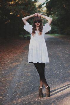 Get this look (dress, bootie, sunglasses) http://kalei.do/WO6PJ7axdJxXnHYV
